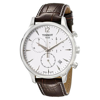 Tissot Men's T063.617.16.037.00 Stainless Steel Tradition Watch with Textured Leather Band - Intl