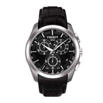 TISSOT T035.617.16.051.00 - Couturier - Chronograph - Tachymeter - Jam Tangan Pria - Bahan Tali Leather - Hitam