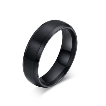 Titanium Steel 6mm Classical Charm Black Men/Women Rings Jewelry