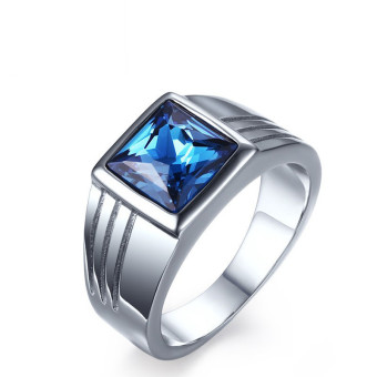 Titanium Steel Blue Rhineston Steel-color Ring for Men Great forGifts