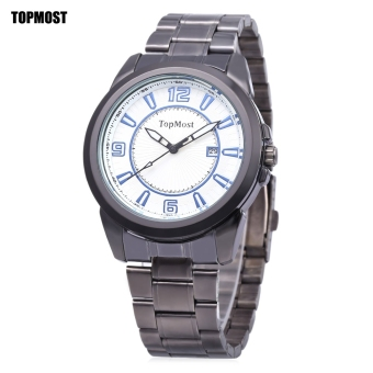 TOPMOST 1932 Men Quartz Watch Date Display Water Resistance Luminous Pointer Wristwatch (White)