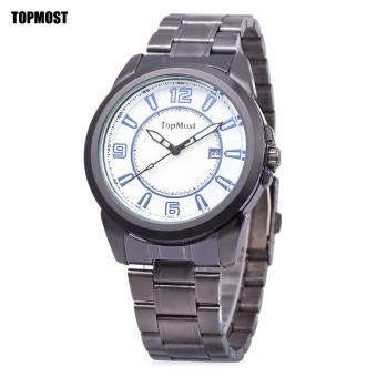 TOPMOST 1932 Men Quartz Watch Date Display Water Resistance Luminous Pointer Wristwatch (White)