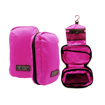 Travel Bag / Travel Bag Organizer / Travel Mate / Tas Kosmetik Toilet - pink tua