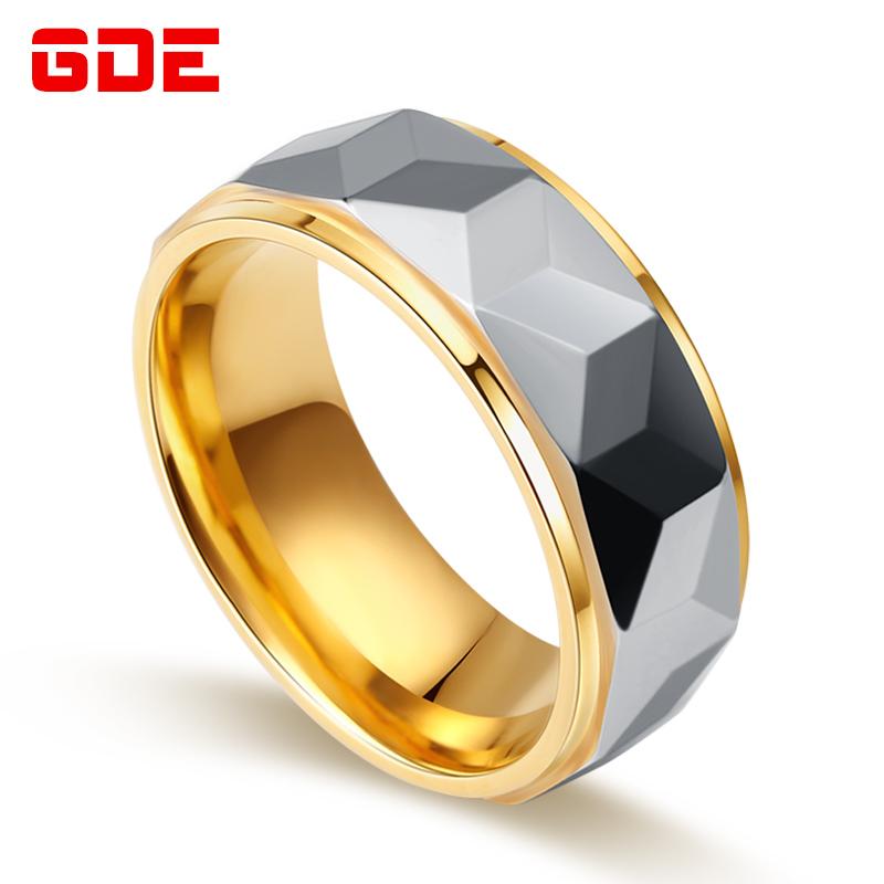 Home; Perhiasan; Perhiasan. Trendi Pria Modis Emas Warna Emas Tungsten Cincin Pria Cincin