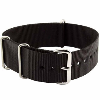 Twinklenorth 24mm Black Nato Strap Nylon Military Watch Band Strap Watchband NATO-065 - intl