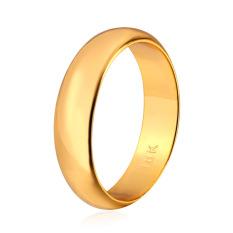 U7 18 KB Nyata Emas Berlapis Dua Cincin Dengan Band Sederhana 18 KB Cap Fashion Wanita/Pria Sempurna Aksesoris Perhiasan (Emas)
