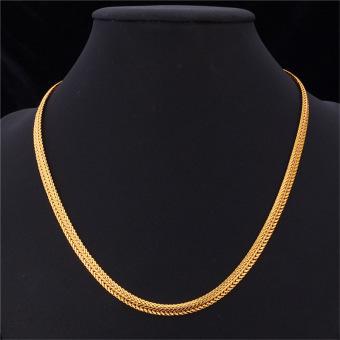 U7 76.2 cm buntut rubah klasik rantai kalung untuk pria 18 KB nyata emas perhiasan berlapis