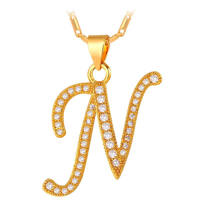 ... U7 Abjad N Kalung Liontin Inisial Kubik Zirconia 18 KB Nyata Emas Berlapis Fashion Wanita/ ...