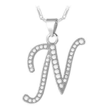 U7 Abjad N Kalung Liontin Inisial Kubik Zirkonia Berlapis Platinum Fashion Wanita/Pria Hadiah Perhiasan