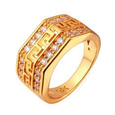 U7 G Eropa Surat Kubik Zirkonia Berlapis Emas Perhiasan Cincin Pria (Emas)