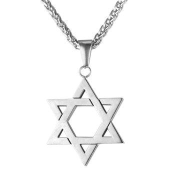 U7 Yahudi Magen Perhiasan Berbintang David Pasangan Wanita Pria Kalung Rantai Stainless Steel Israel Hadiah (