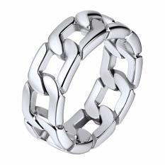 U7 Kuba Link Rantai Cincin Emas Disepuh/Stainless Steel Ukuran 7/8/9/10/11 /12 Chunky Trotoar Ring Stainless Steel Curb Link Ring untuk Pria (Emas/Perak/Hitam) -Intl