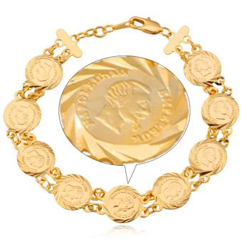 U7 Koin Tua 18 KB Nyata Emas Berlapis Rantai Gelang (Emas)