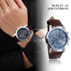 Ultimate Jam Tangan Pria Strap Kulit/Analog Fashion Watch/Jam Tangan Pria Casual Leather Strap Water Resistant LY-02 Hitam - Tali Cokelat