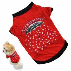 Unipet Baju Anjing Kucing its raining love Size M - Merah