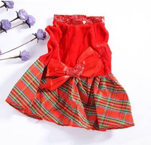 ... Unipet - Baju Dress Kotak Kotak Pita Anjing Kucing Size M - Merah ...