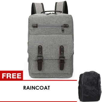 uNiQue Tas Laptop Backpack Ransel Korean Elite K11 - Abu-Abu + FREE Raincoat
