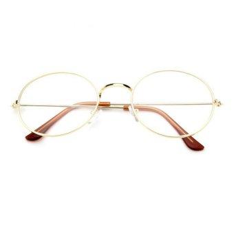 Unisex Vintage Round 210 Clear Gold G - Kacamata Pria dan Wanita