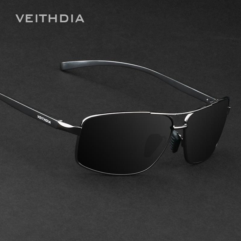 VEITHDIA baru merek terpolarisasi laki-laki kacamata Hitam BingkaiAluminium matahari kacamata mengemudi Eyewear aksesoris untuk