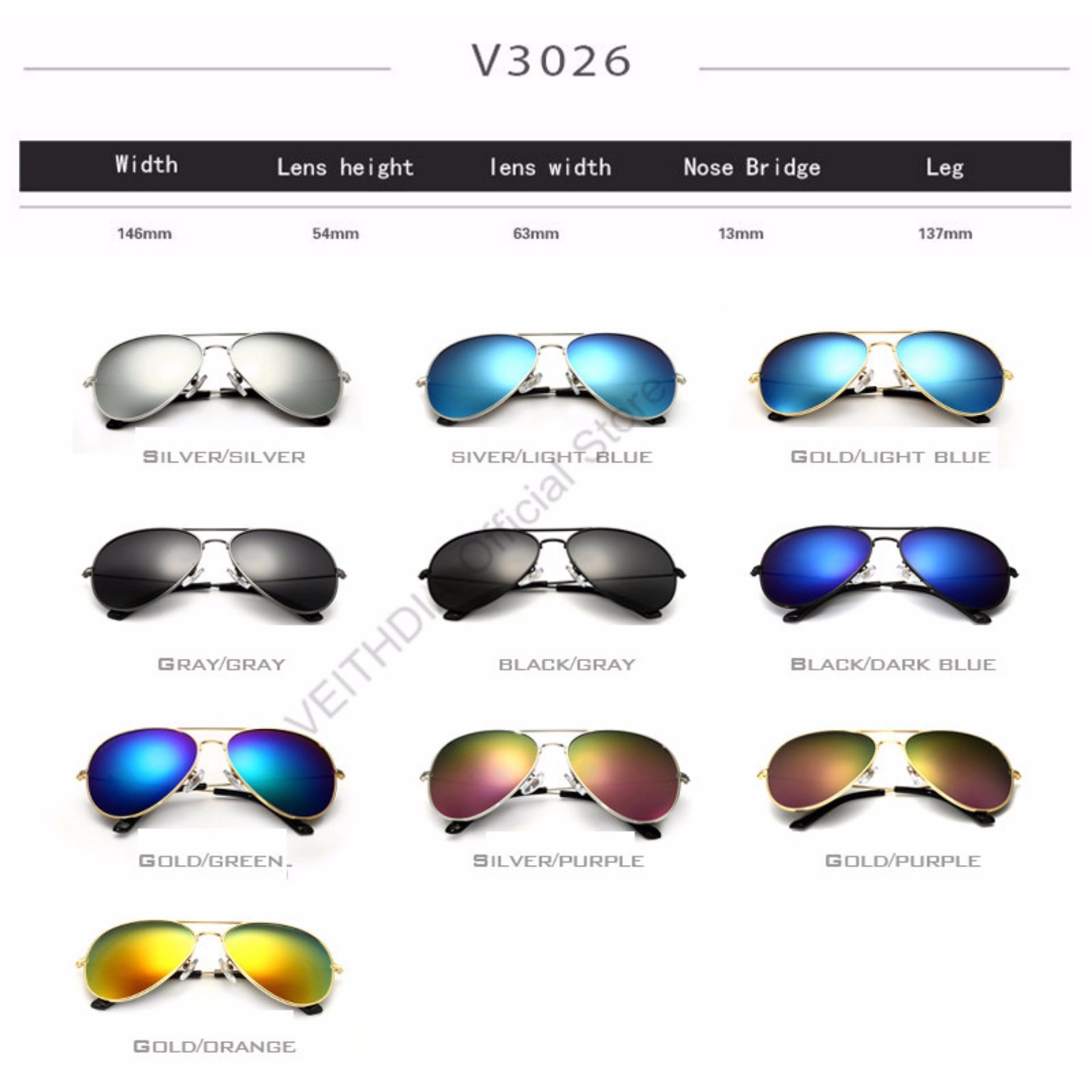 ... VEITHDIA merek fashion klasik pria wanita terpolarisasi kacamata hitam warna lapisan reflektif aksesoris kacamata lensa