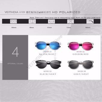 VEITHDIA Unisex kacamata Retro aluminium merek lensa terpolarisasi aksesoris kacamata Vintage kacamata matahari Oculos untuk pria wanita 6109 ? Silver Blue ? - International - 4