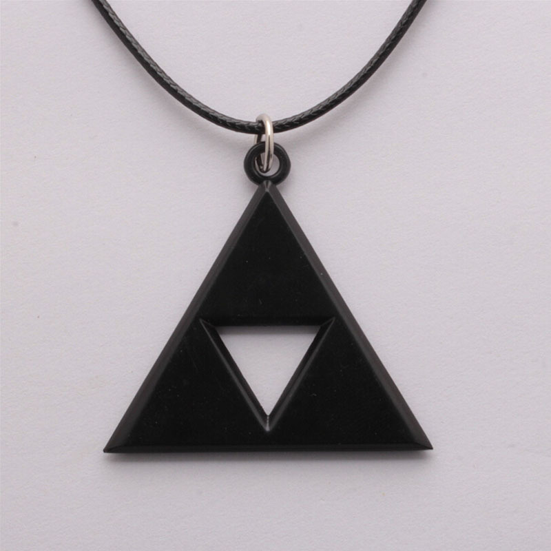 Velishy Vogue Anime Game Metal Pendant Necklace Chic Triangle Mark Pendant Necklaces Black - Intl