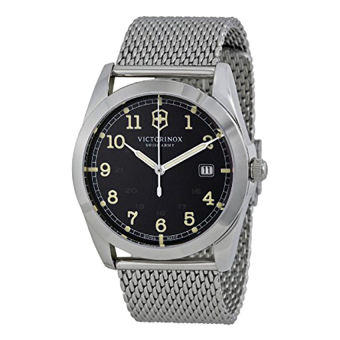 Victorinox Swiss Army Infantry Black Dial Woven SS Quartz Men's Watch 241585 - Intl