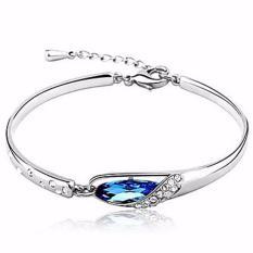 Vienna Linz Gelang Wanita Crystal Glass Slipper Bracelet Purple 925 Sterling Silver - Biru