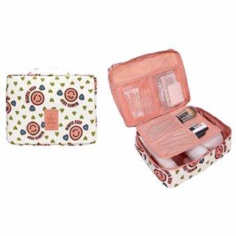 Vienna Linz Multi Pouch Tas Kosmetik Korea Make Up Travel OrganizerSmiley K043 - Pink