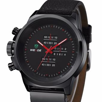 Weide Jam Tangan Japan Quartz Miyota Leather Sports Watch 30M Water Resistance WH3305 - Black Red