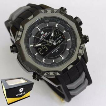 Weide Japan Quartz Miyota Men Leather Sports Watch 30M Water Resistance - WH6406 - Black