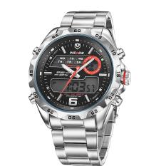 WEIDE WH-3403 kasual pria Stainless Steel sejalan & digital jam tangan water resistant - Hitam + Perak