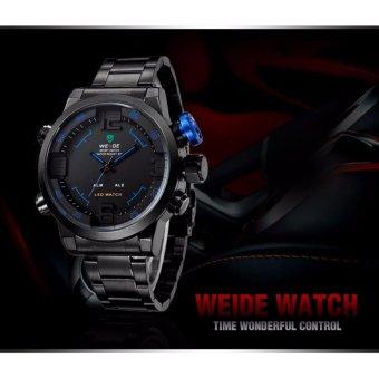 WEIDE WH2309 Men's Military Sports Black Band Digital LED Dual Time Display Alarm Quartz Wristwatch