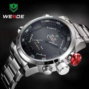 WEIDE WH2309 Men's Military Sports Silver Band Digital LED Dual Time Display Alarm Quartz Wristwatch