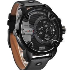WEIDE WH3301B-1C 431114 kebesaran 2 zona waktu sambungan militer gerakan kuarsa ganda pria jam tangan olahraga Hitam