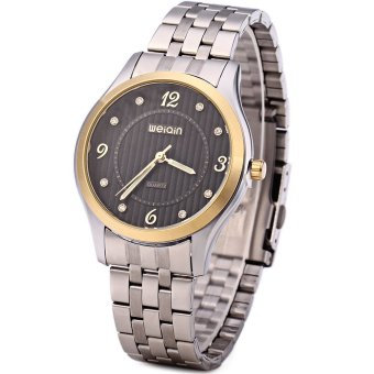 WeiQin 5067 Men Steel Rhinestone Quartz Watch with Luminous Pointers (Black)
