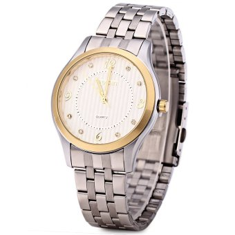 WeiQin 5067 Men Steel Rhinestone Quartz Watch with Luminous Pointers (White)