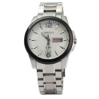 WeiQin 5073 Men Date Steel Luminous Analog Quartz Watch (WHITE)