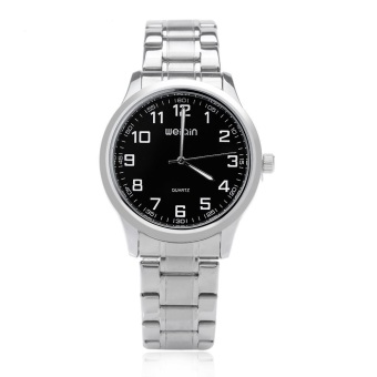 WEIQIN W00123G Men Quartz Watch Stainless Steel Strap Big Number Display Wristwatch (BLACK)