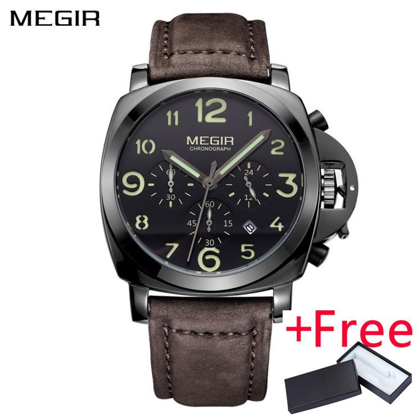 Flash Sale Wholesaler MEGIR ML3406G Clock Men Top Brand Luxury Quartz  WatchJam Tangan Big Dial Chronograph Military Watch Jam Tangan esLuminous 672c3547c7