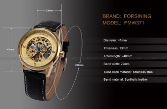 WINNER Black Watch Men Automatic Mechanical Watches Mens Luxury Brand Famous Leather Wristwatch Clock Men Relogio