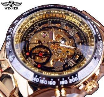 Winner Number Sport Design Bezel Golden Top Brand Luxury Montre Homme Clock Men Automatic Skeleton Watch-Black Watchcase Black Dial Rose gold Marks - intl