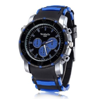 WoMaGe Woman Fashion Alloy Case Silicone Band Outdoor Running Sport Quartz Wrist Lady Watches royal blue