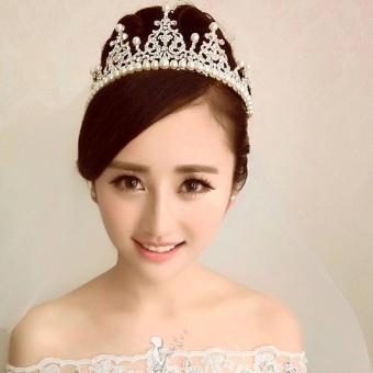 Women Crystal Imitation Pearl Tiaras Crown Headband Hair Jewelry - intl