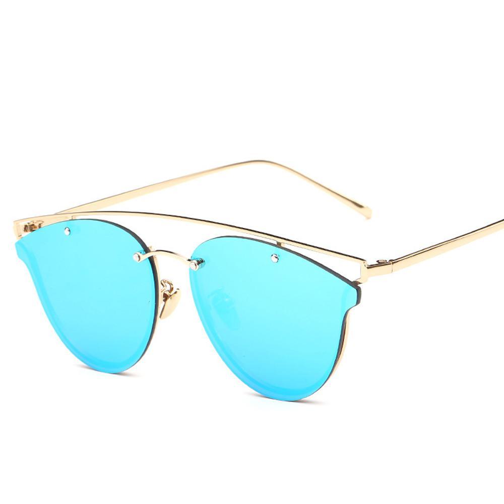 ... Women Fashion Cat Sunglasses Metal Frame Sunglasses Brand Classic Tone Mirror - intl ...