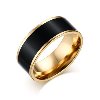 Women gold plated Ring Titanium steel with epoxy rings for women fashion jewelry Black