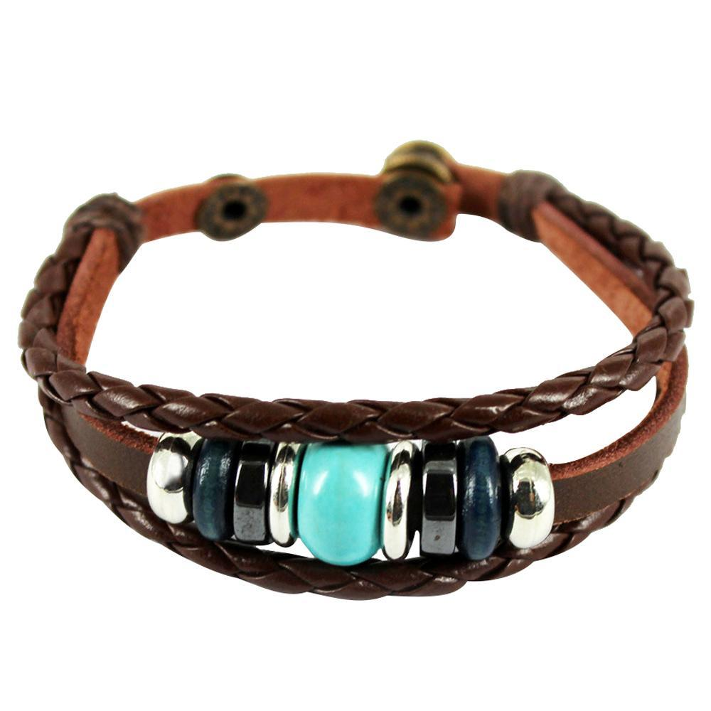 Women Lady Hand Crafted Bead PU Leather Wrap Bracelet Bangle - intl