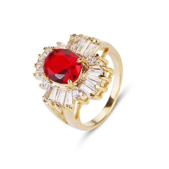 Women Rings For Girls CZ Jewelry Gold Plated Ring Round Red