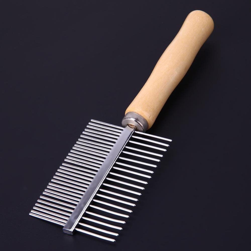 Wooden Handle Pet Comb Dog Cat Combs Hair Rake Comb Pet Grooming Hairbrush - intl