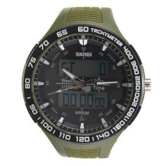 WSJ SKMEI New Waterproof Mens Analog Digital LED Rubber Military Wrist Sports Watch - intl